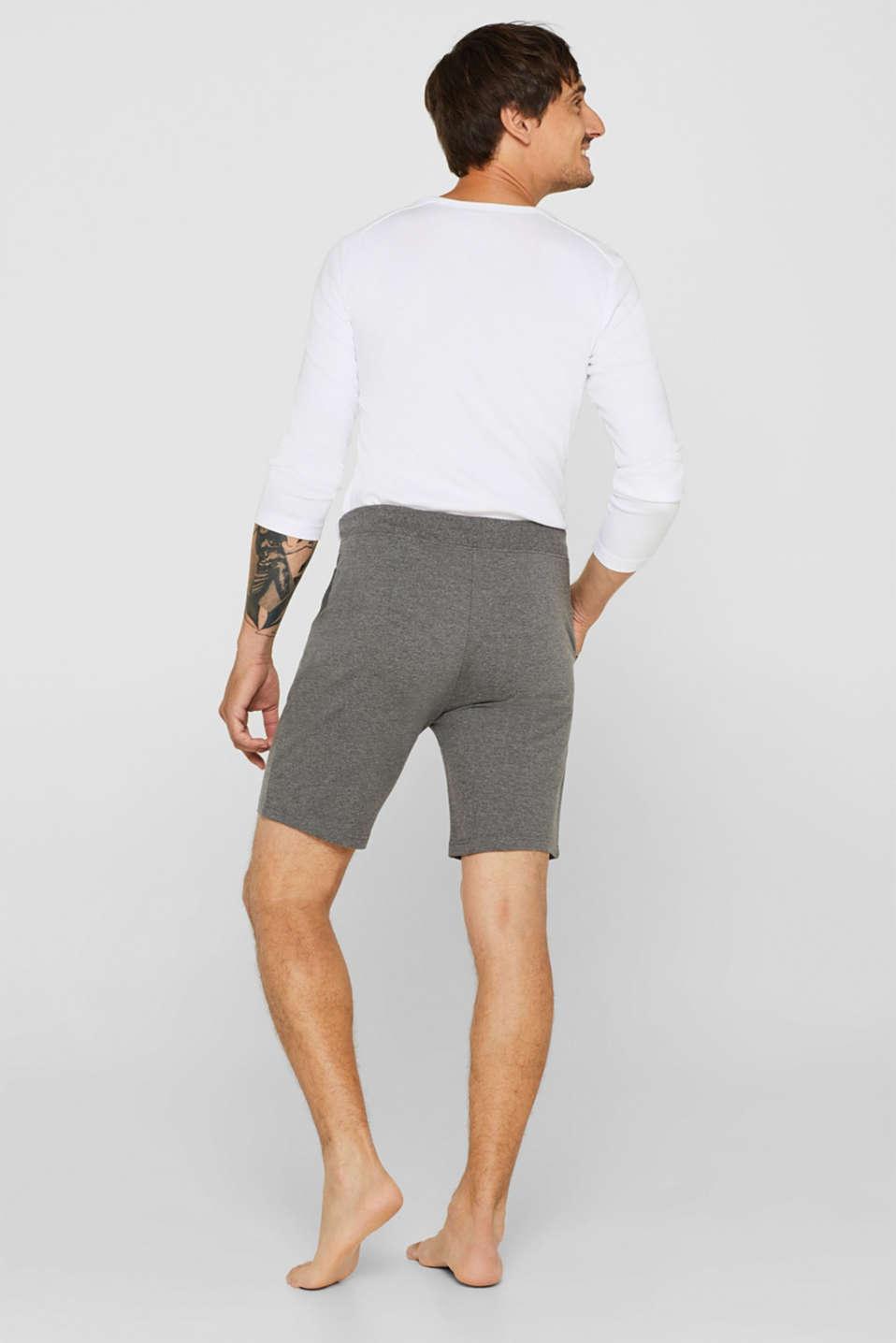 Pyjama shorts in melange sweatshirt fabric, MEDIUM GREY, detail image number 1