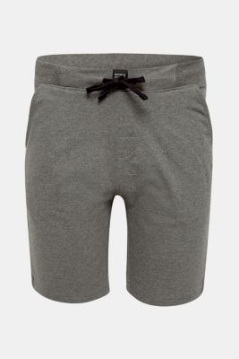 Pyjama shorts in melange sweatshirt fabric, MEDIUM GREY, detail