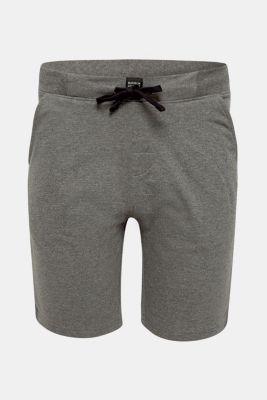 Pyjama shorts in melange sweatshirt fabric, MEDIUM GREY, detail