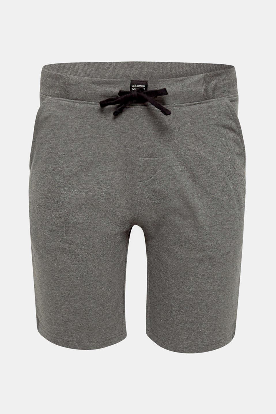 Pyjama shorts in melange sweatshirt fabric, MEDIUM GREY, detail image number 3