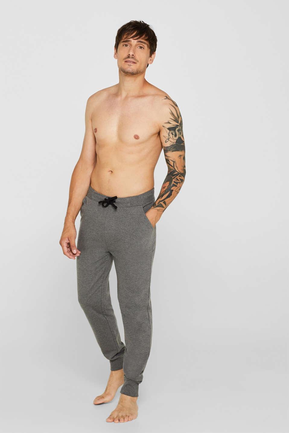 Pyjama trousers made of melange sweatshirt fabric, MEDIUM GREY, detail image number 0