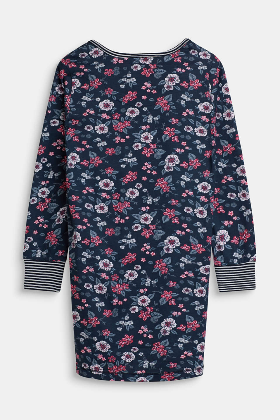 Floral nightshirt in 100% cotton, NAVY, detail image number 1