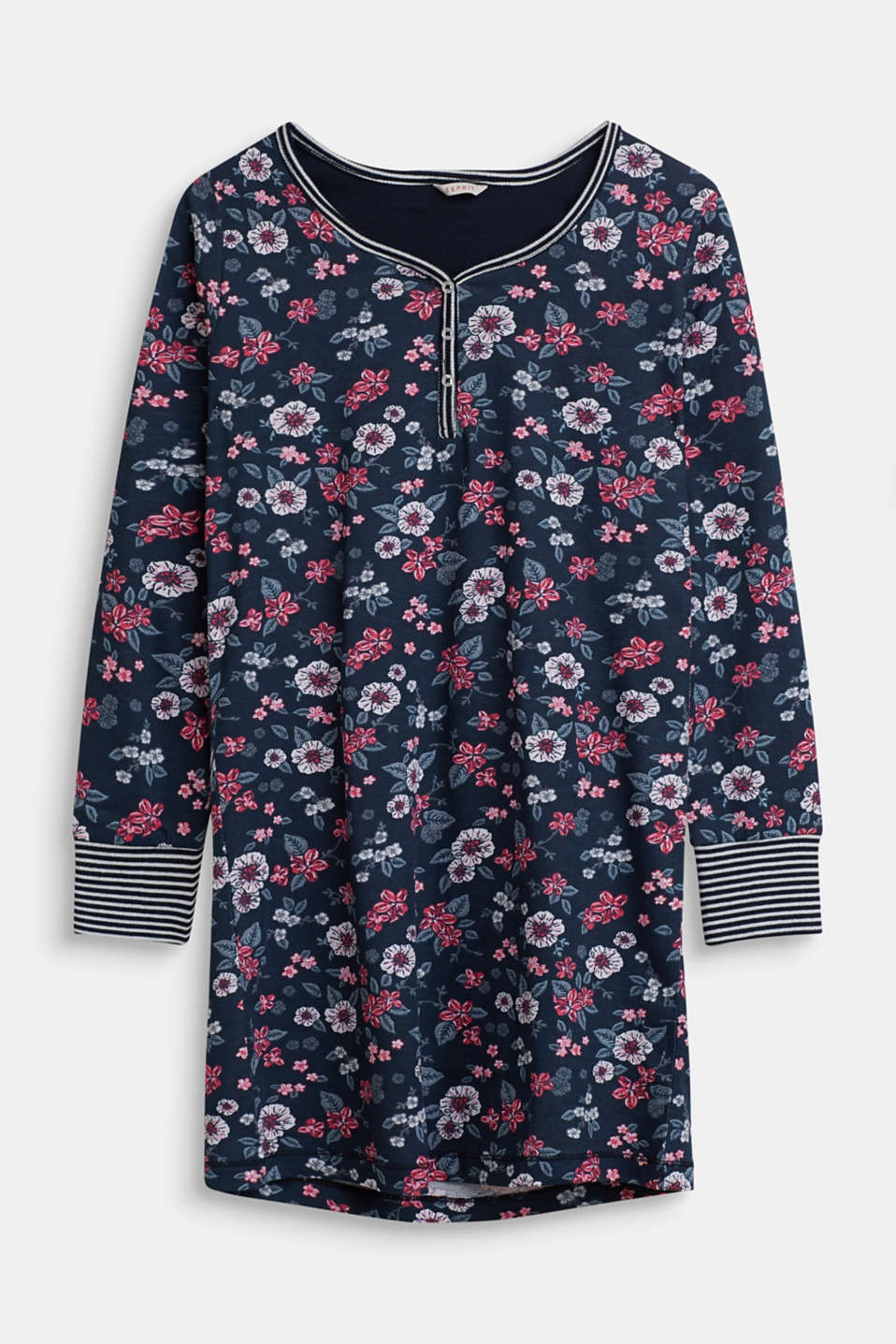 Floral nightshirt in 100% cotton, NAVY, detail image number 0
