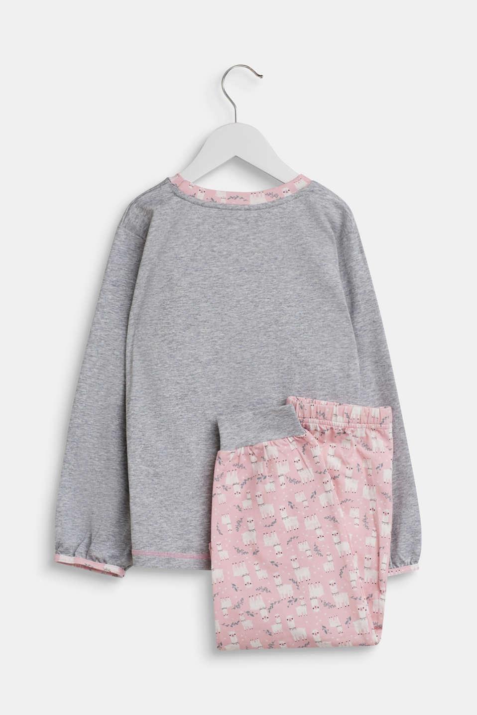 Llama motif pyjamas, PASTEL PINK, detail image number 1