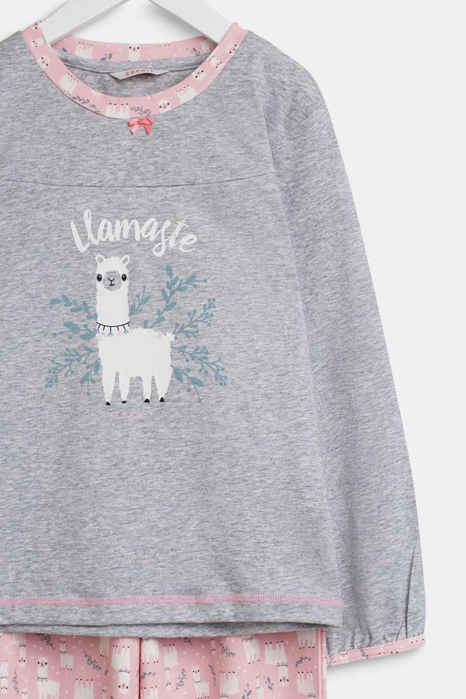 Llama motif pyjamas, PASTEL PINK, detail image number 2