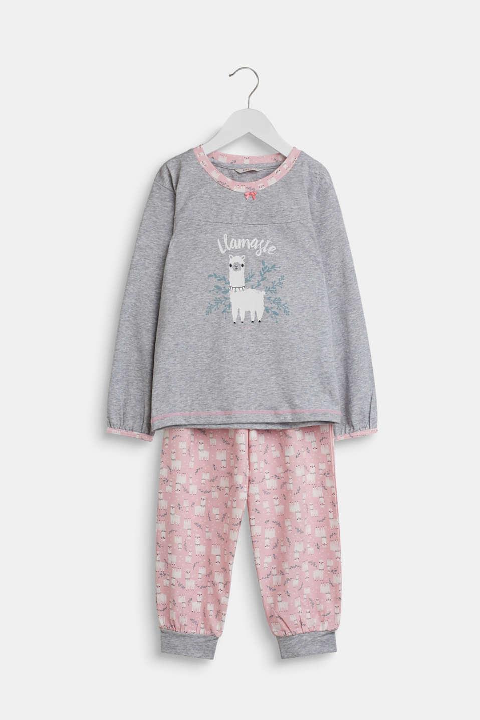 Llama motif pyjamas, PASTEL PINK, detail image number 0