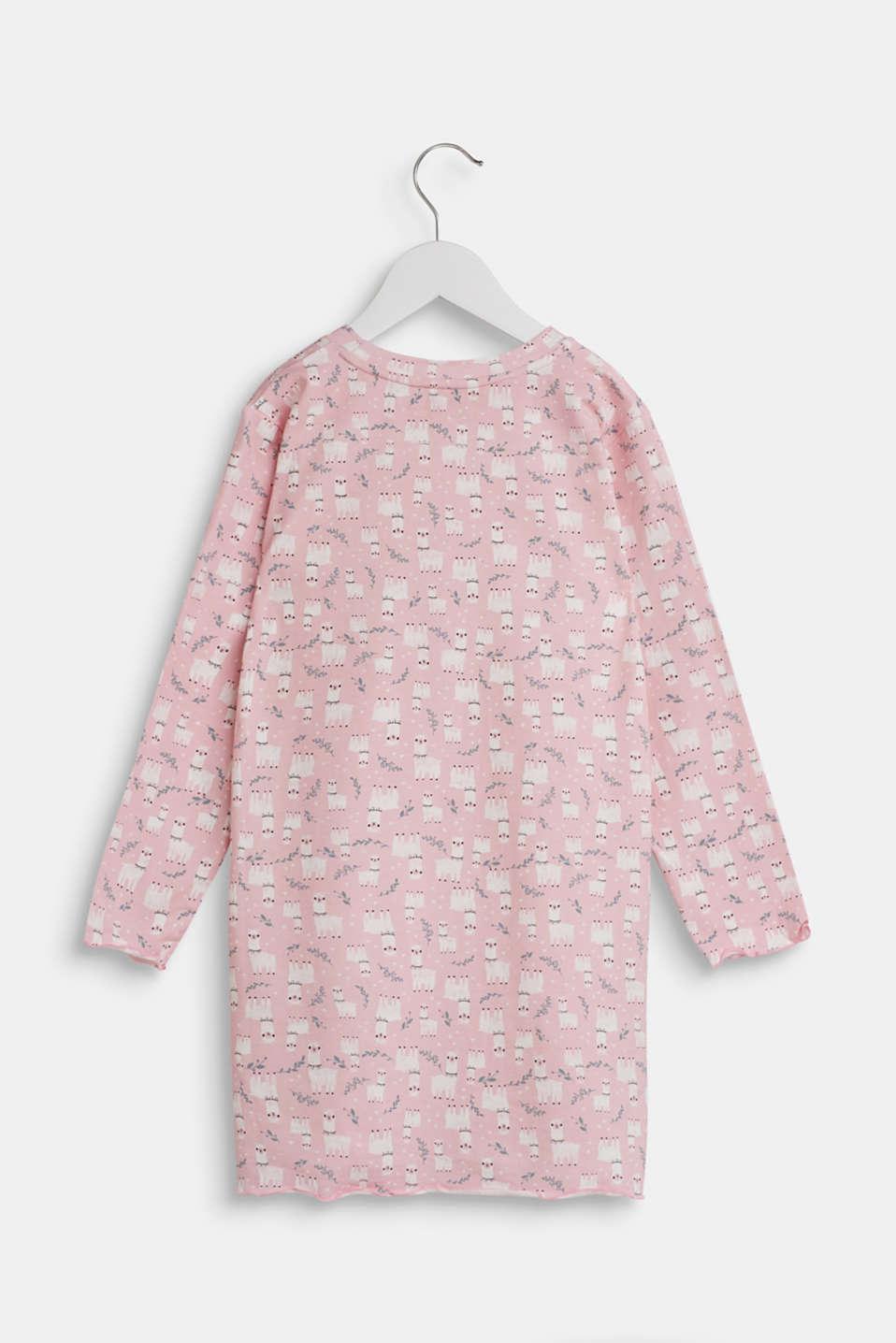Llama motif nightshirt made of stretch cotton, PASTEL PINK, detail image number 1