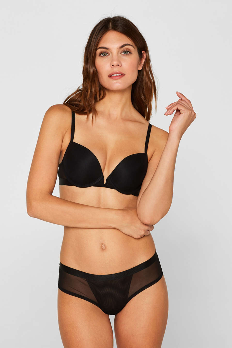 NYE Push-up bra with mesh details, BLACK, detail image number 0