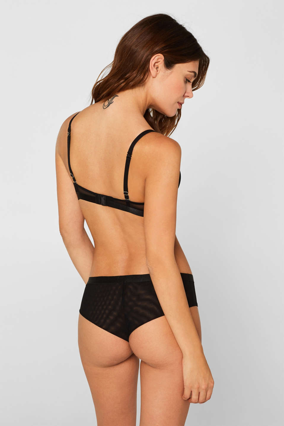 NYE Push-up bra with mesh details, BLACK, detail image number 1