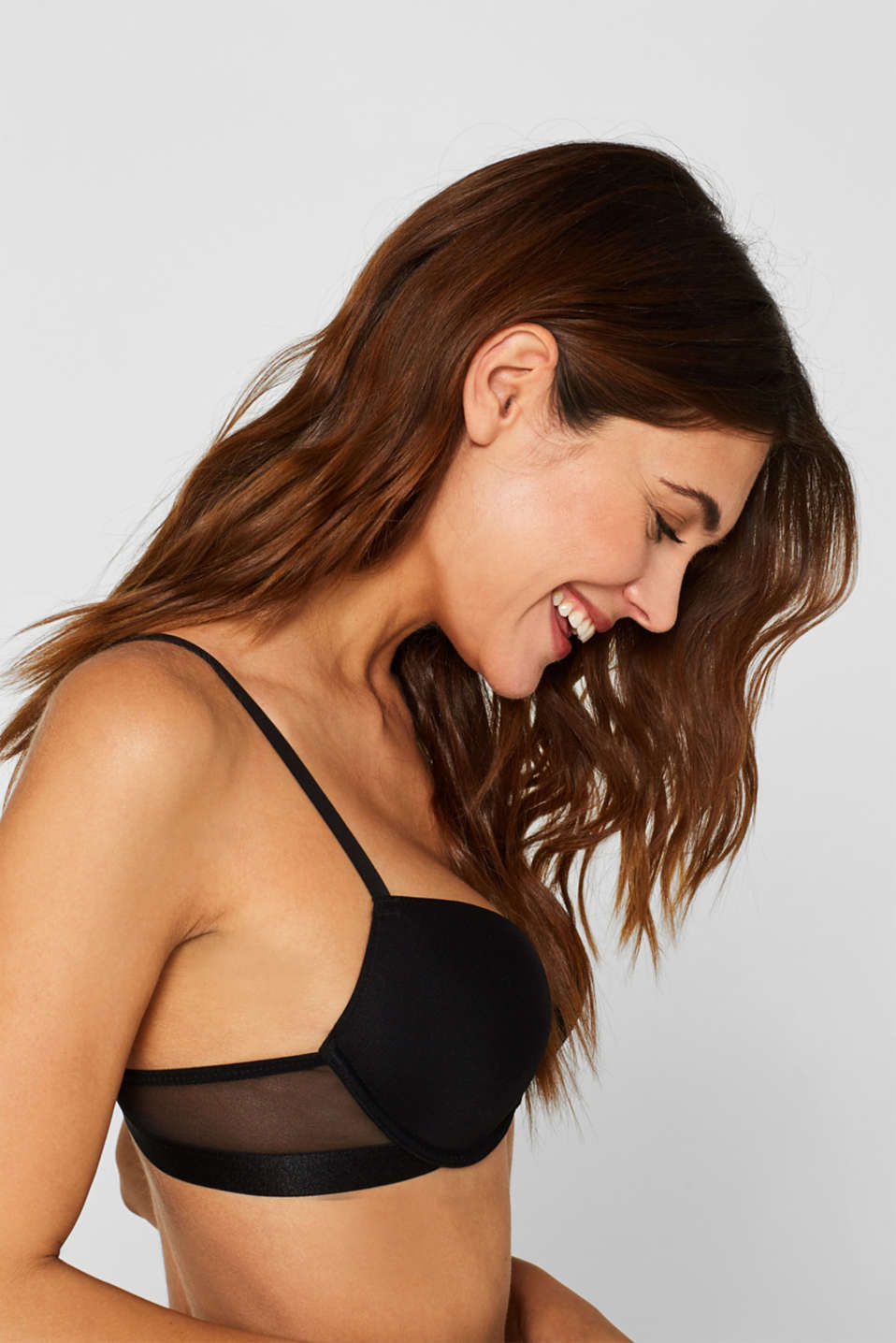 NYE Push-up bra with mesh details, BLACK, detail image number 2