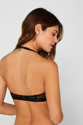 Padded underwire bra with mesh