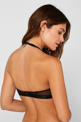 Unpadded underwire bra made of mesh, BLACK, detail