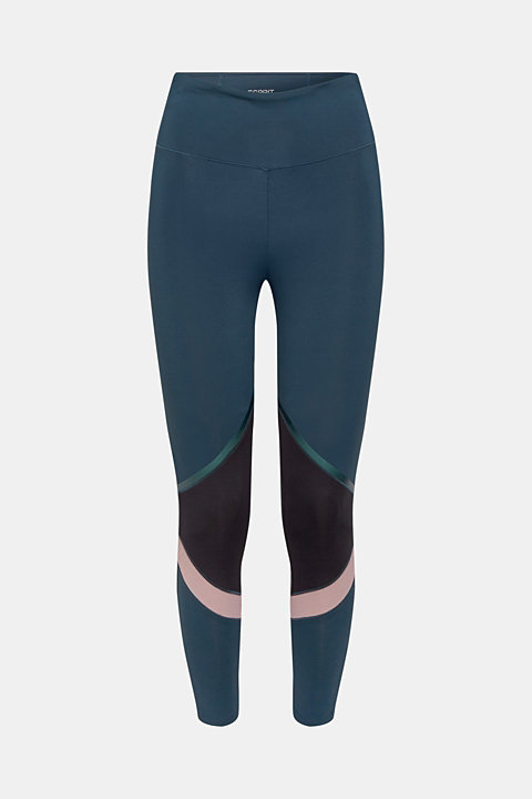 Active leggings in a colour block style, E-DRY