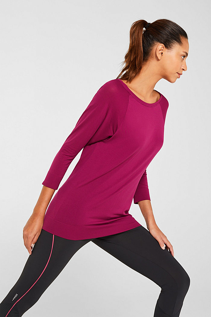 Batwing top with textured details, E-DRY, DARK PINK, detail image number 0