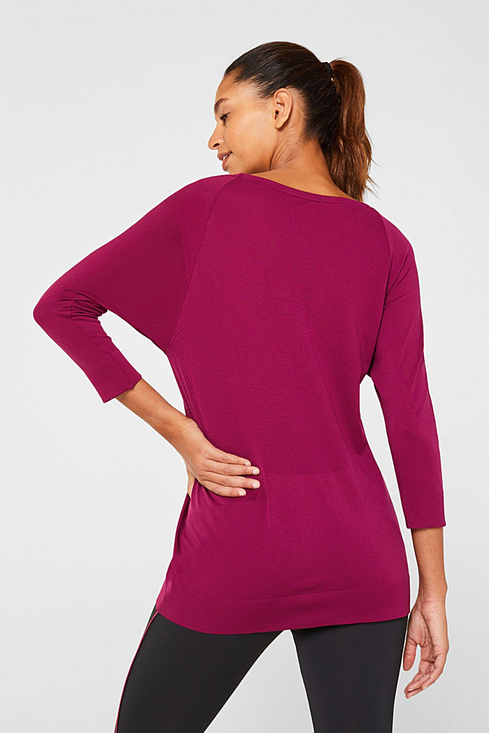 Batwing top with textured details, E-DRY, DARK PINK, detail image number 3