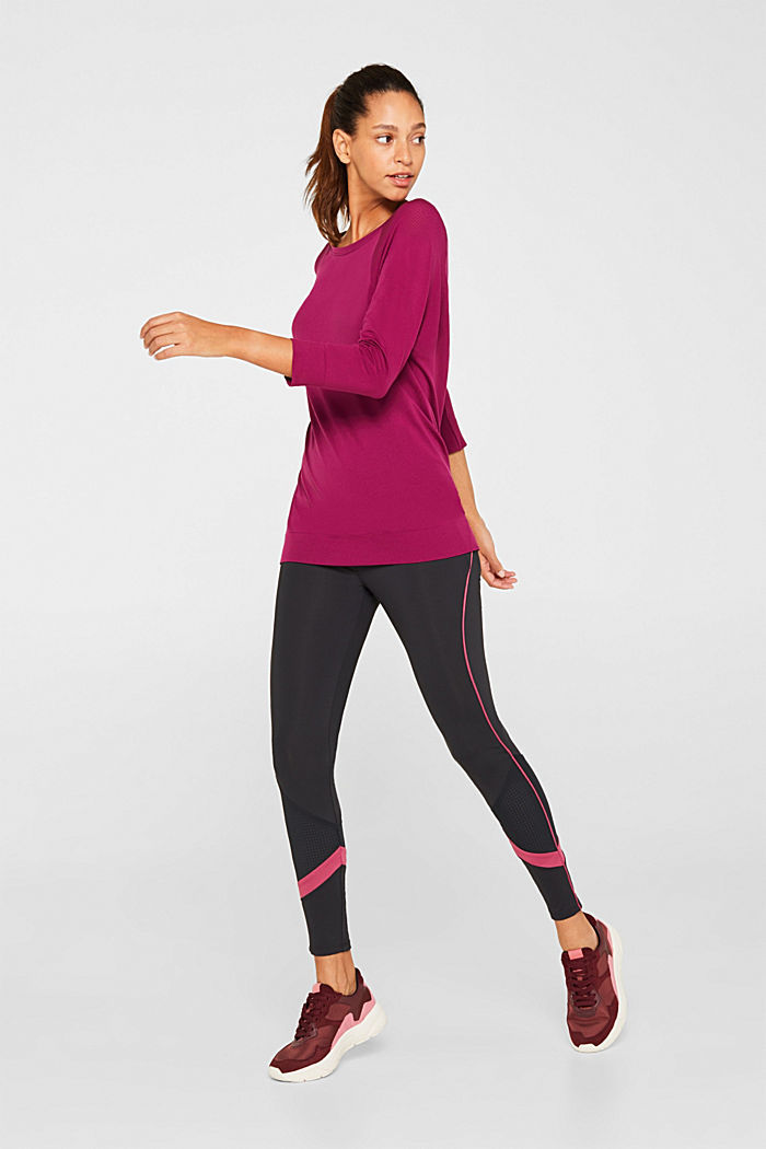 Batwing top with textured details, E-DRY, DARK PINK, detail image number 5