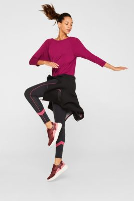 Batwing top with textured details, E-DRY, DARK PINK, detail