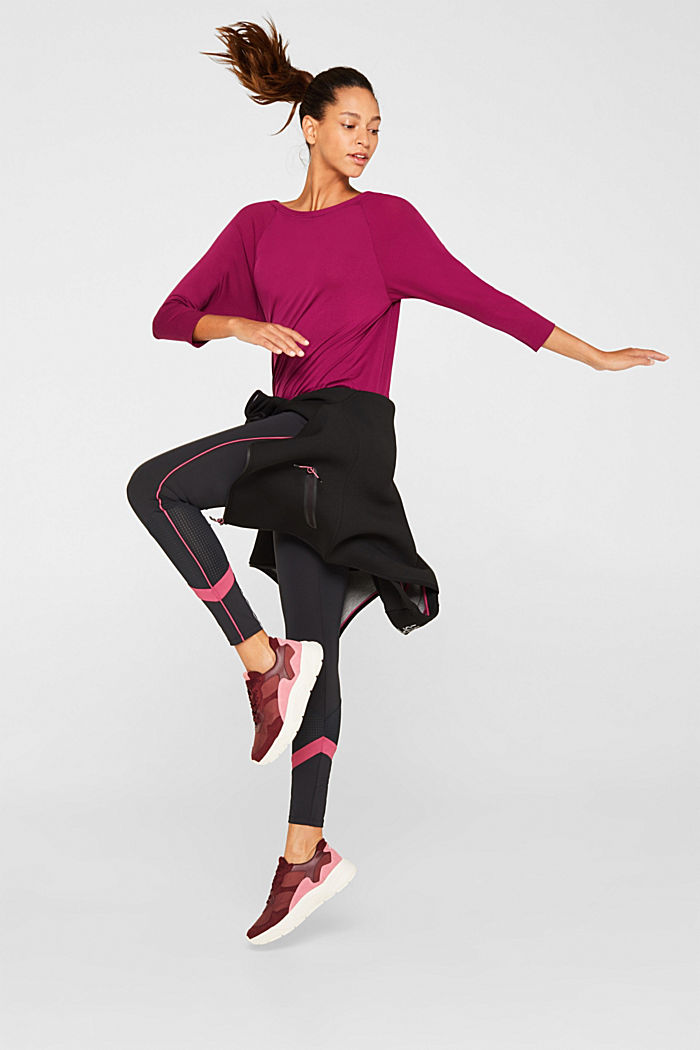Batwing top with textured details, E-DRY, DARK PINK, detail image number 1