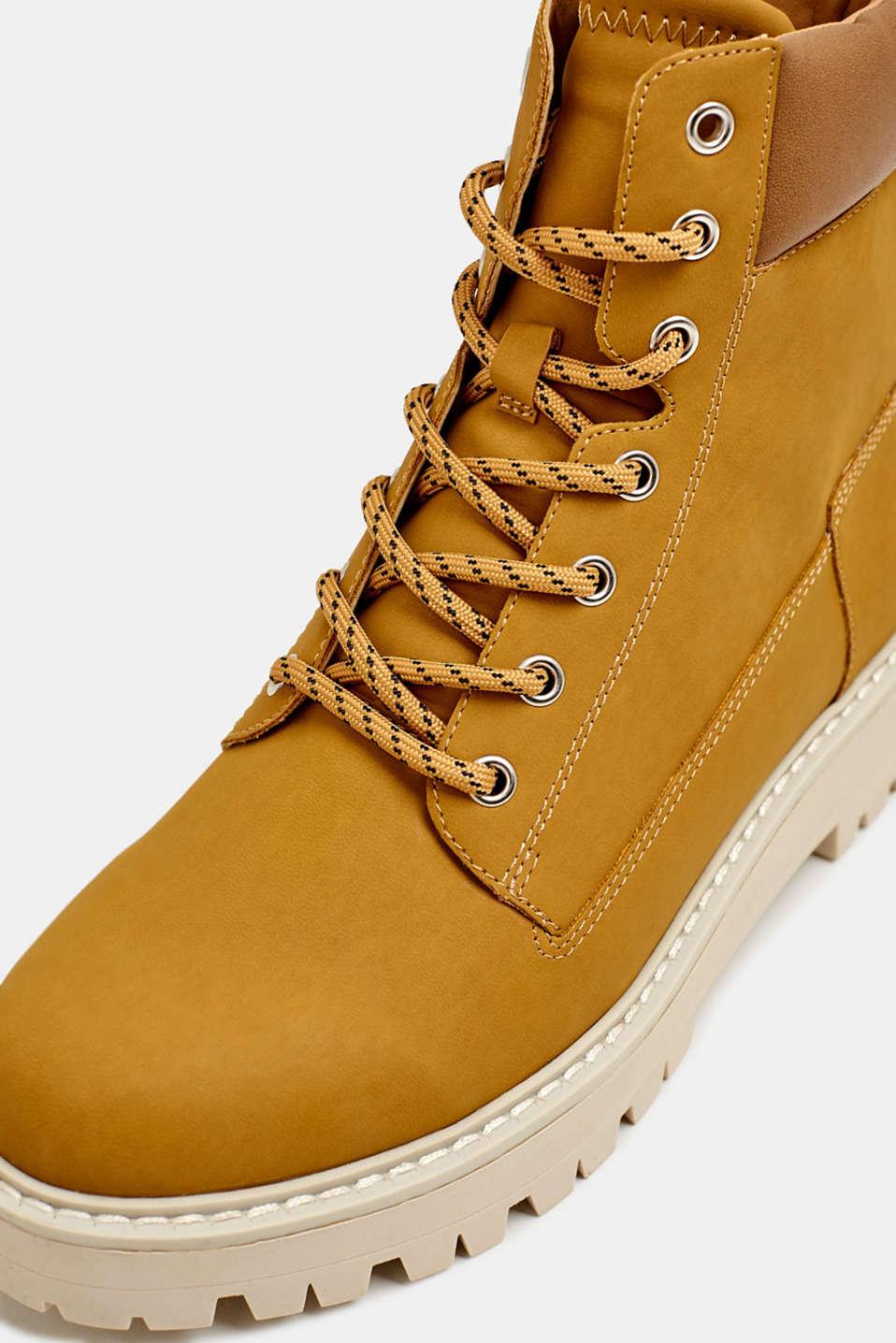 Faux nubuck platform boots, AMBER YELLOW, detail image number 4