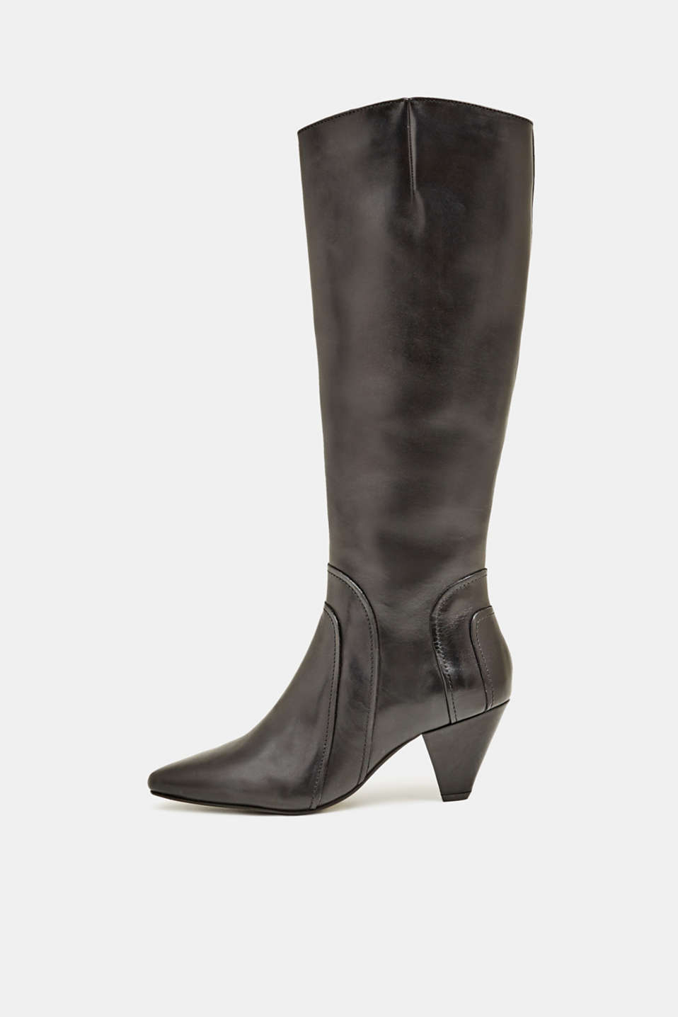 Esprit - Boot with funnel heel, made of leather