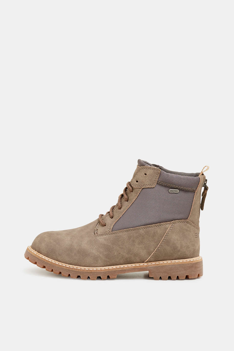 Faux nubuck leather lace-up boots, TAUPE, detail image number 0