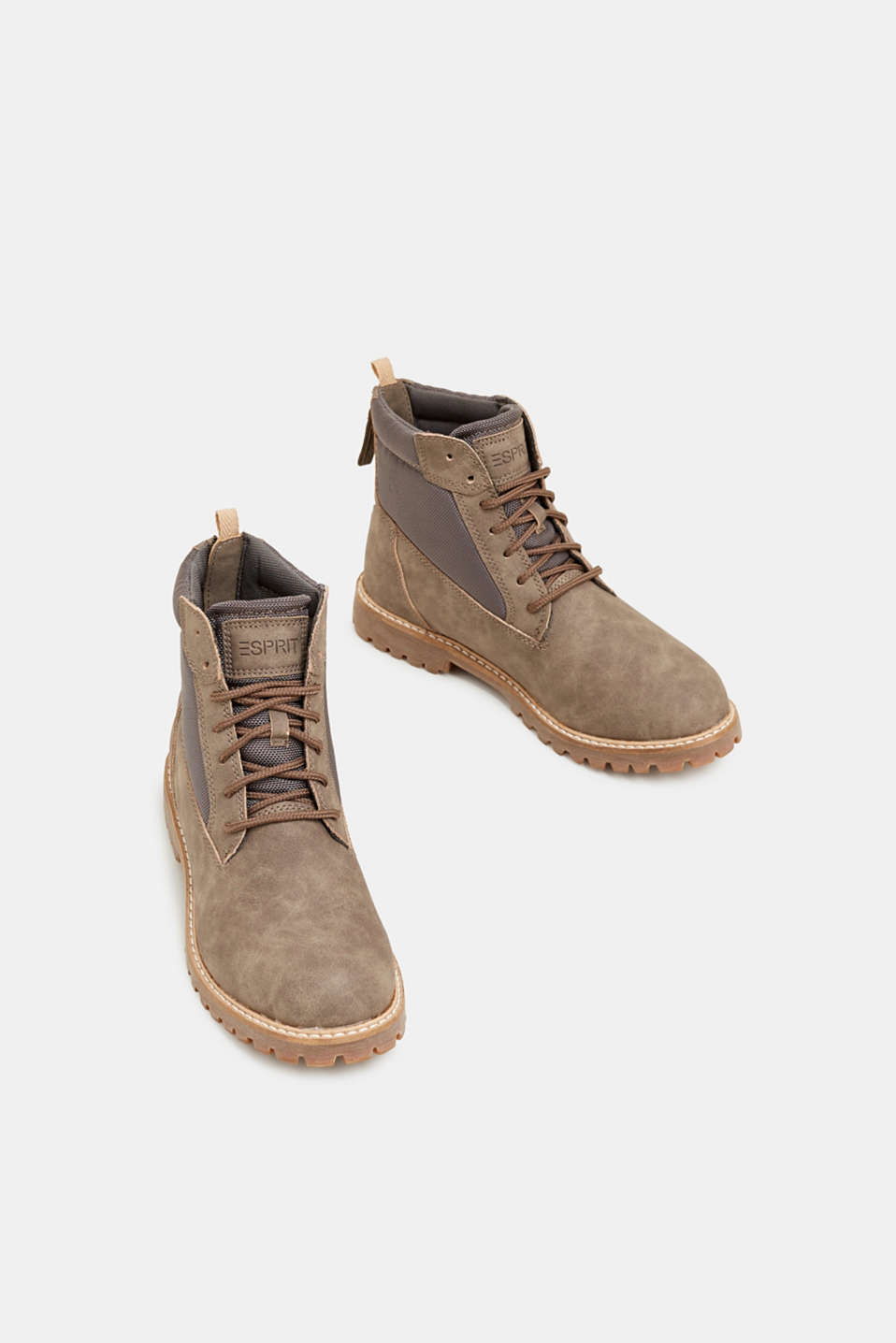 Faux nubuck leather lace-up boots, TAUPE, detail image number 1