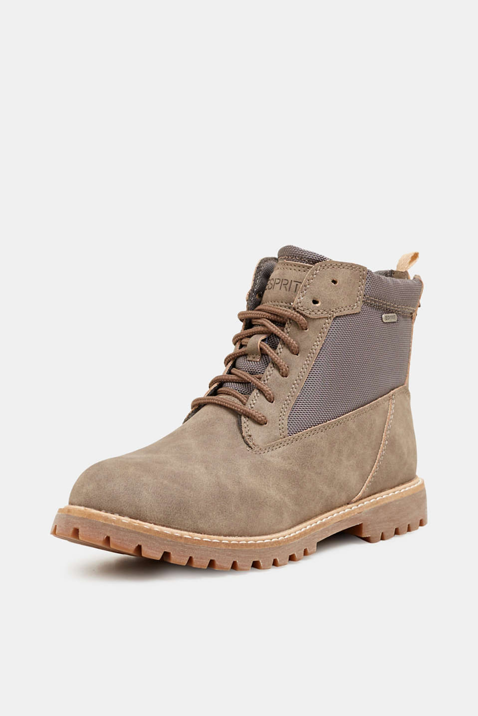 Faux nubuck leather lace-up boots, TAUPE, detail image number 2