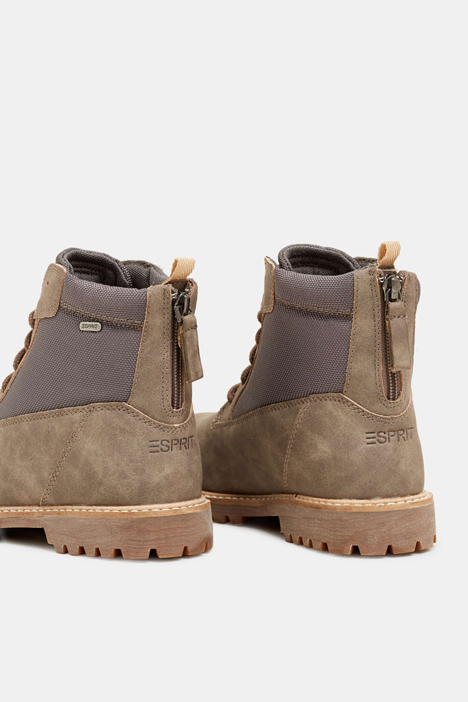 Faux nubuck leather lace-up boots, TAUPE, detail image number 5