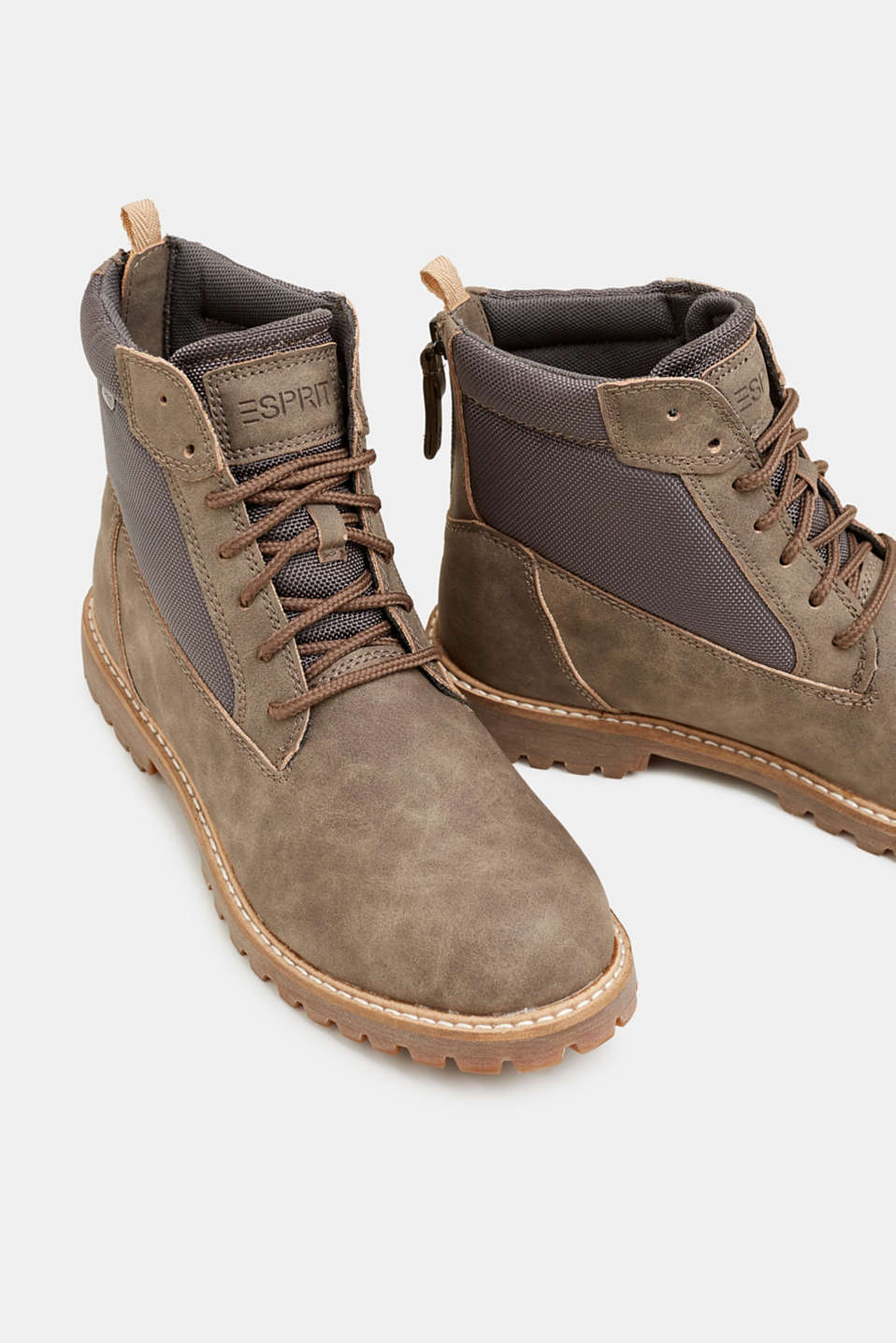 Faux nubuck leather lace-up boots, TAUPE, detail image number 4