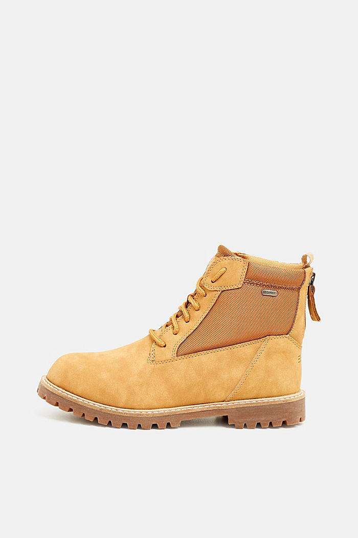 Faux nubuck leather lace-up boots