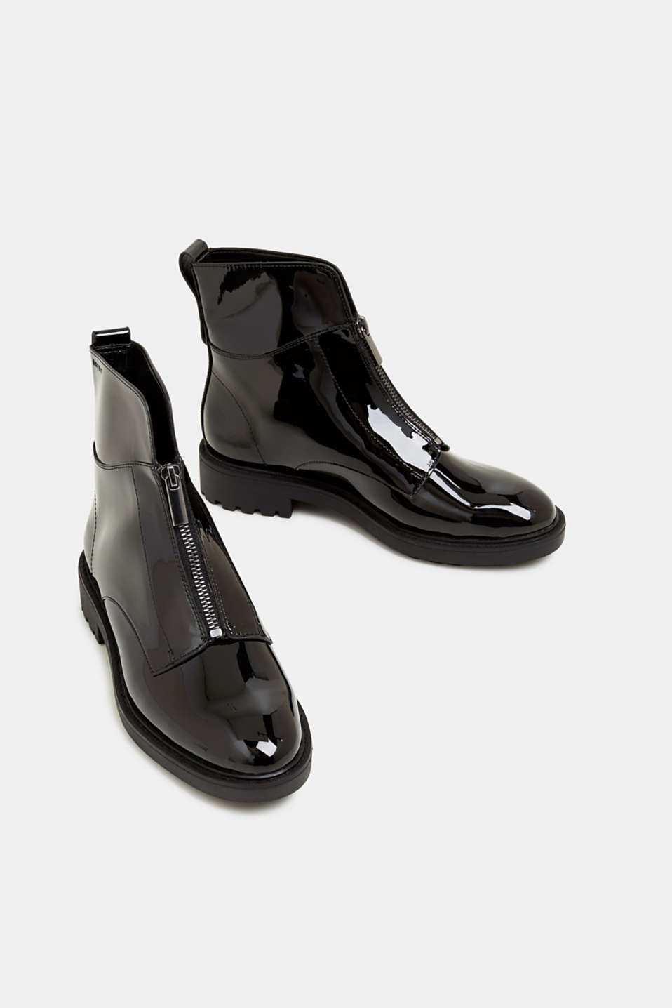 Patent ankle boots with zips, BLACK, detail image number 1