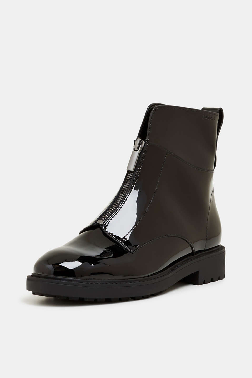 Patent ankle boots with zips, BLACK, detail image number 2