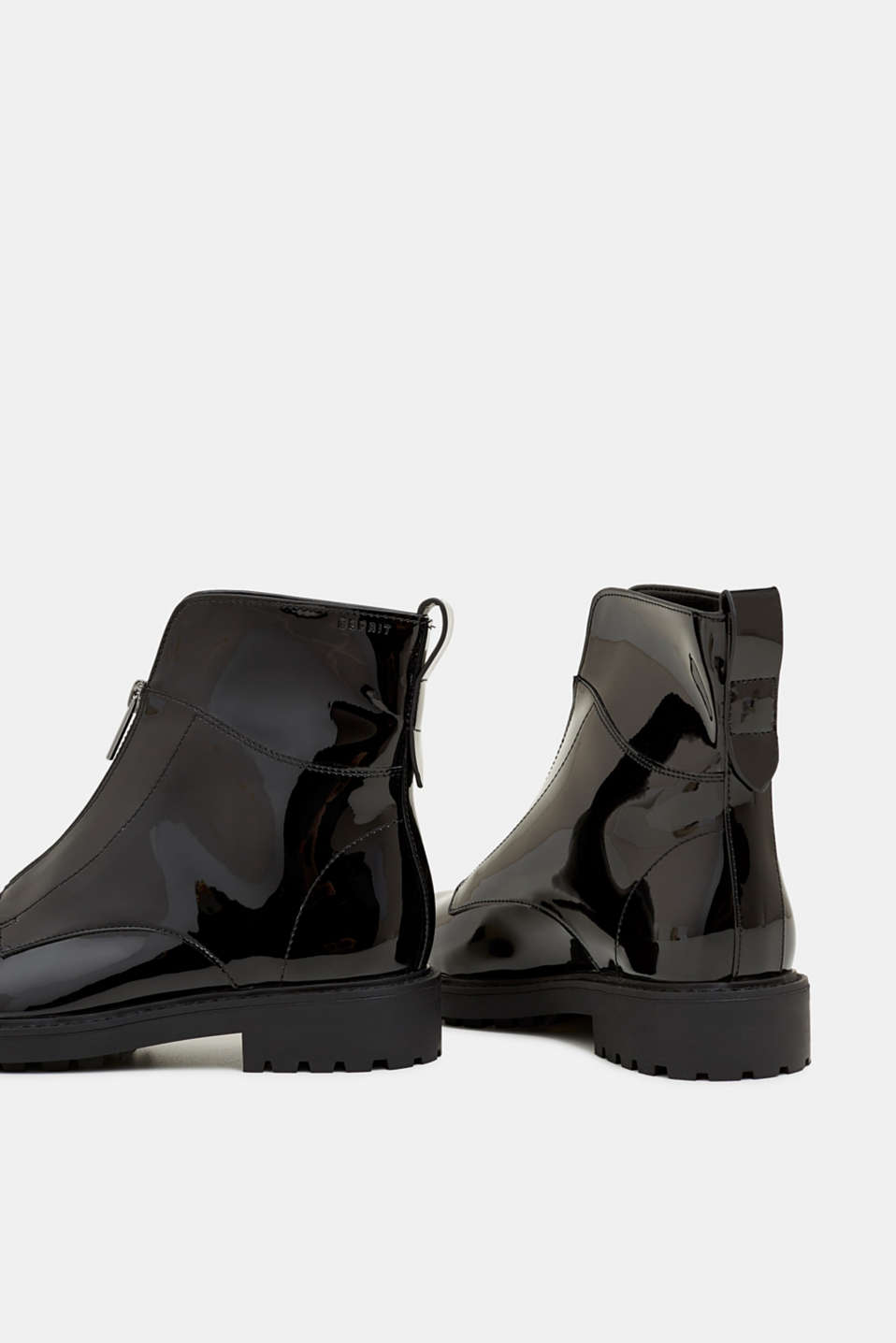 Patent ankle boots with zips, BLACK, detail image number 5
