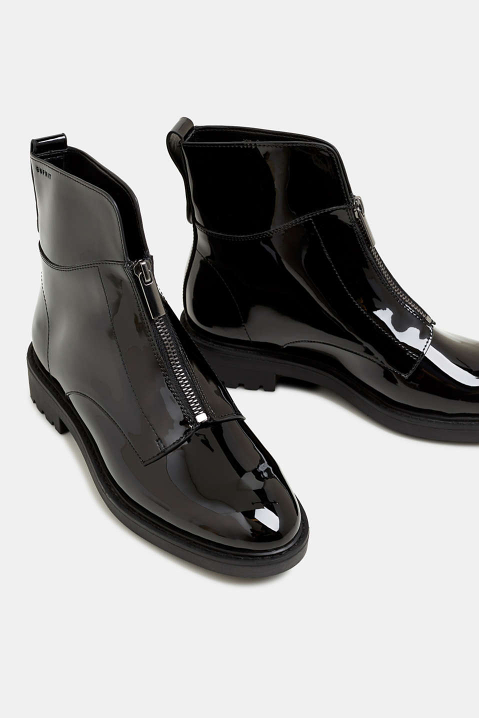 Patent ankle boots with zips, BLACK, detail image number 4