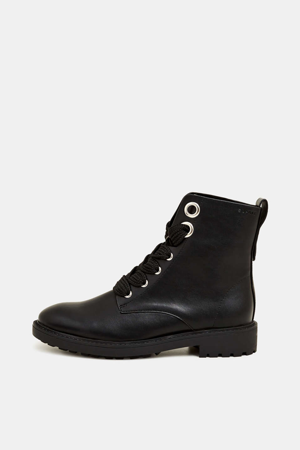Faux leather lace-up boots, BLACK, detail image number 0