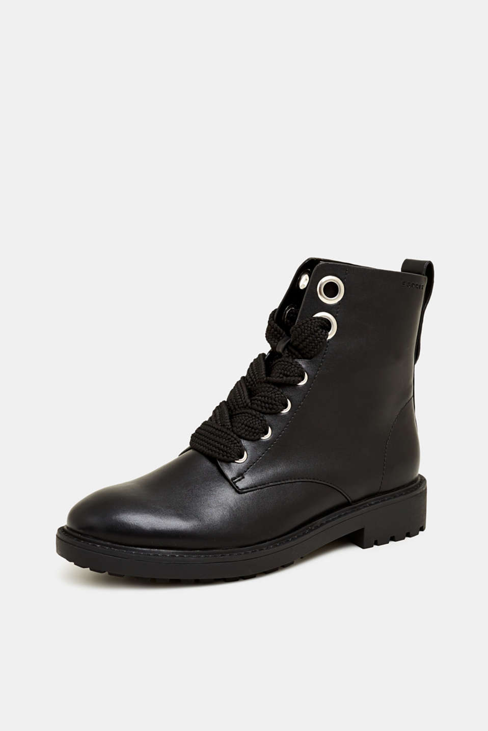 Faux leather lace-up boots, BLACK, detail image number 2