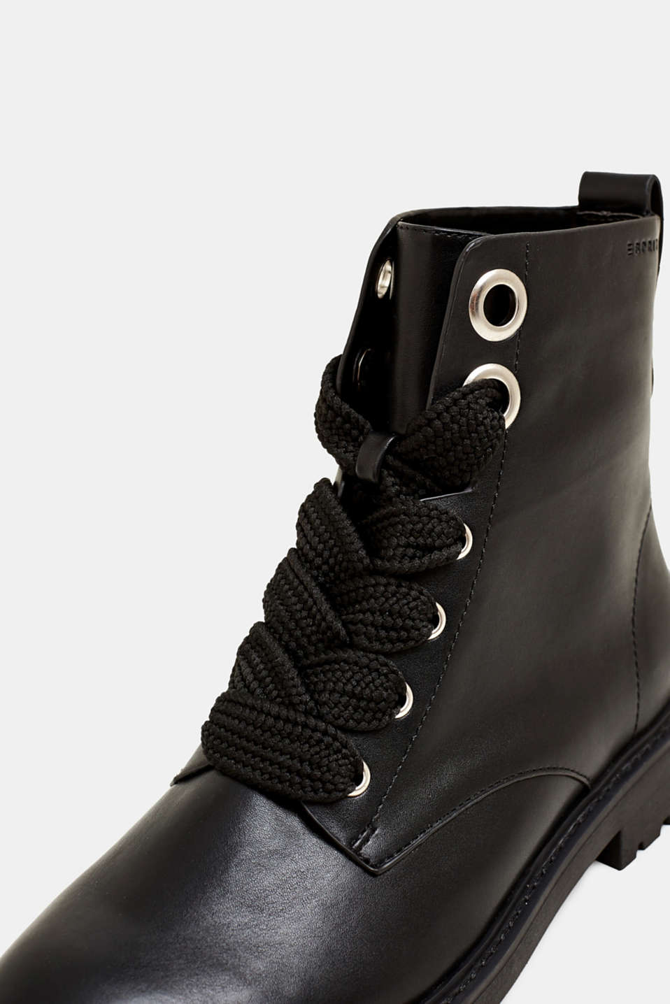 Faux leather lace-up boots, BLACK, detail image number 4