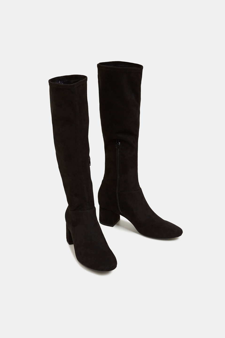 Stretch boots in faux suede, BLACK, detail image number 1