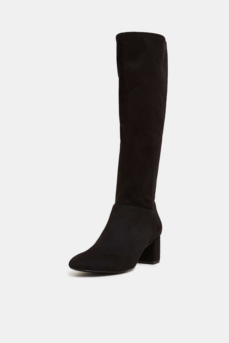 Stretch boots in faux suede, BLACK, detail image number 2