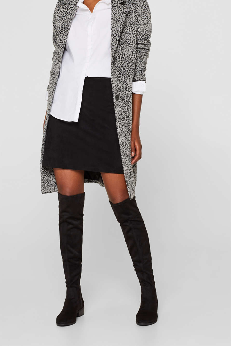 Over-the-knee boots in faux suede, BLACK, detail image number 3