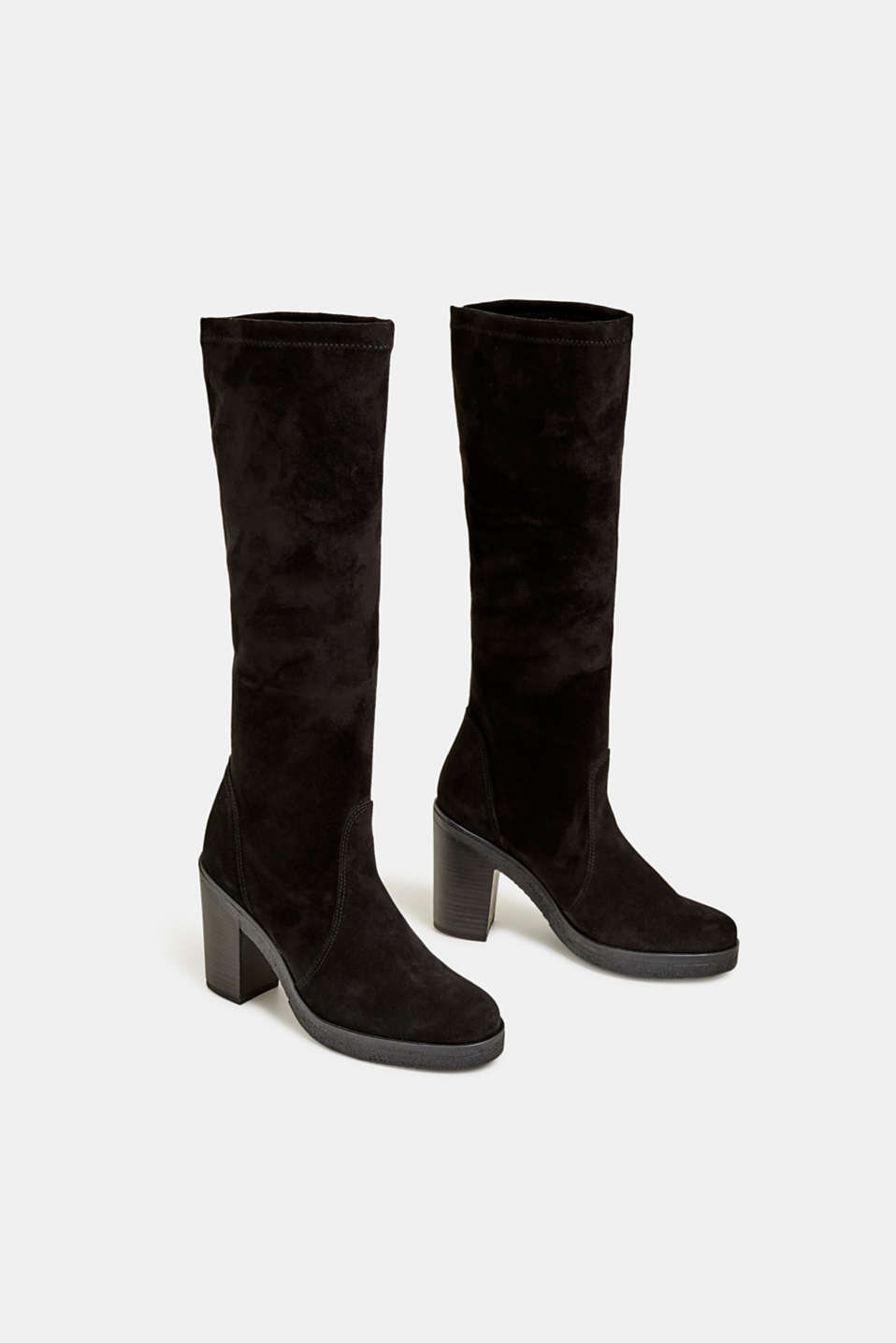 Leather boots with a block heel, BLACK, detail image number 1