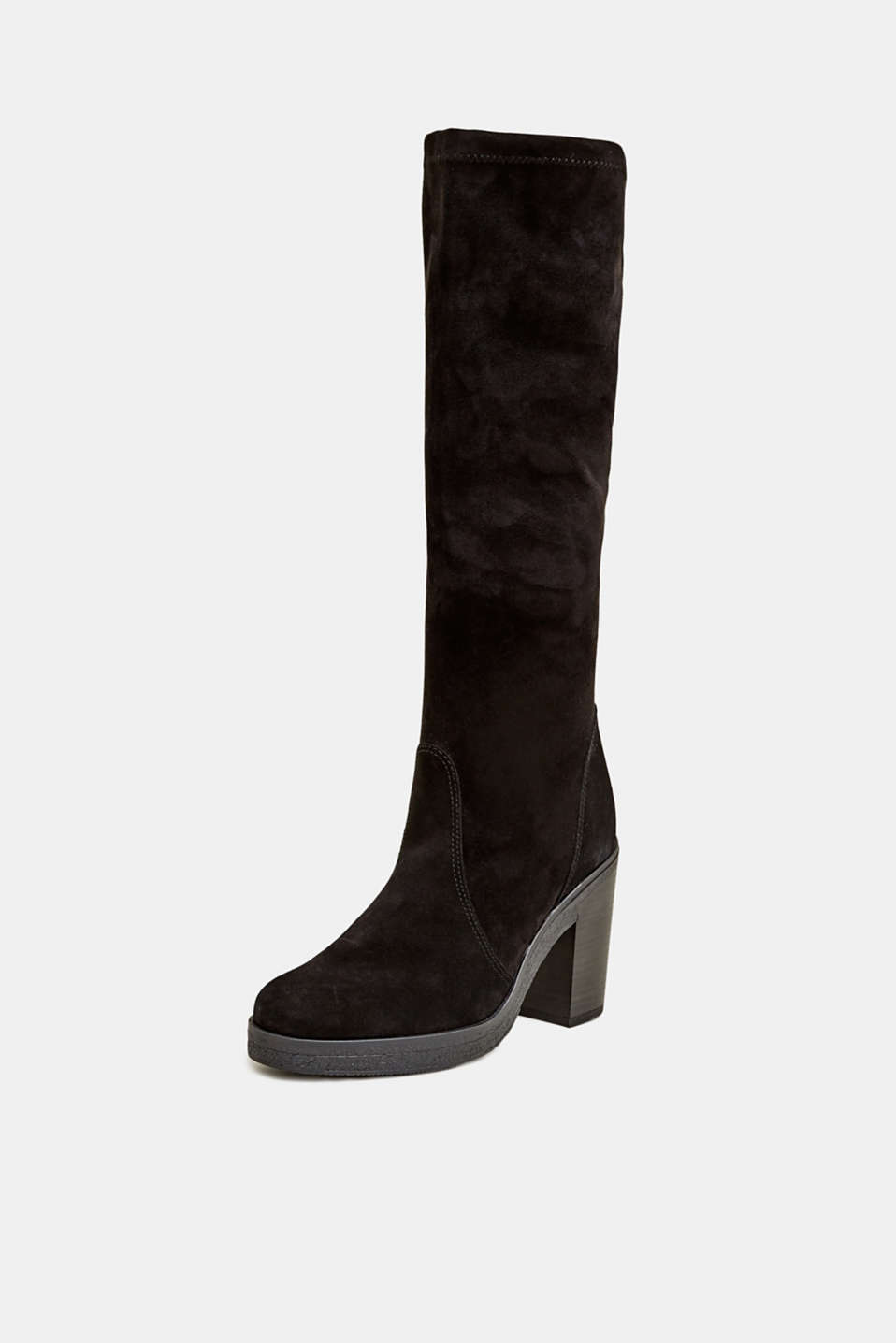 Leather boots with a block heel, BLACK, detail image number 2