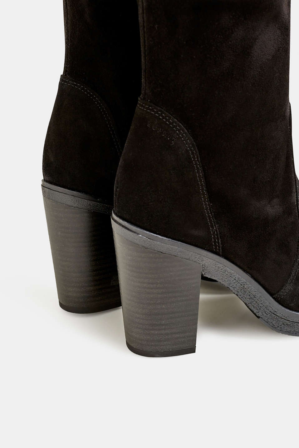 Leather boots with a block heel, BLACK, detail image number 5