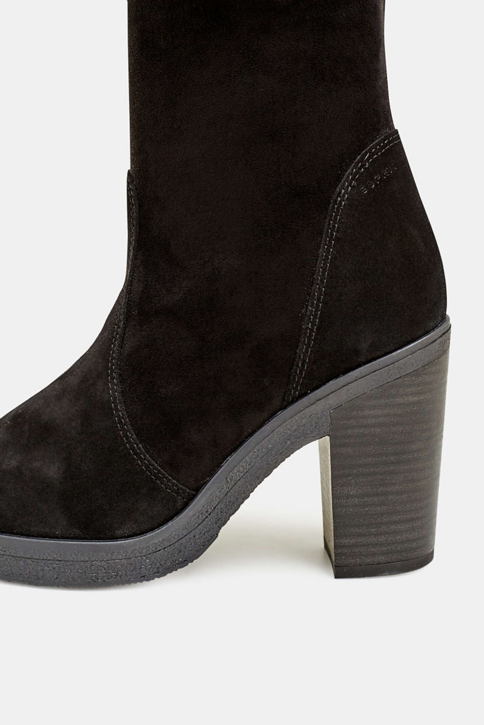 Leather boots with a block heel, BLACK, detail image number 4