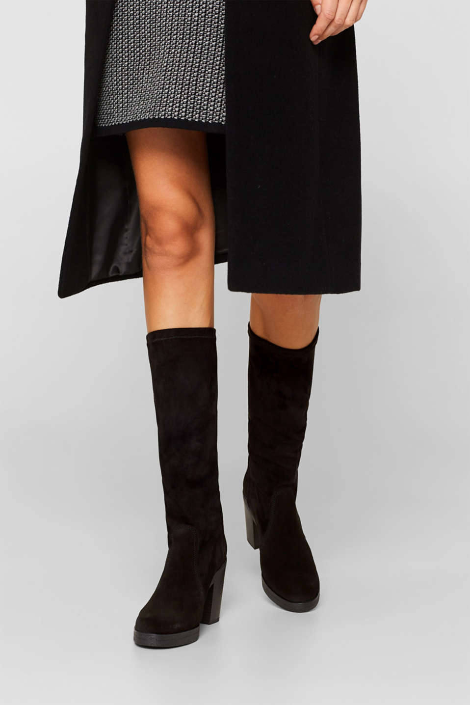 Leather boots with a block heel, BLACK, detail image number 3