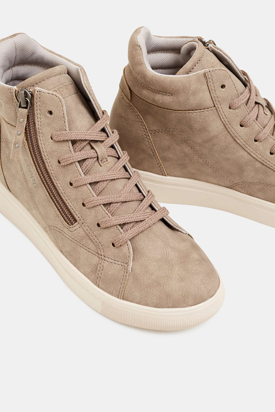 Trainers with a concealed wedge heel, TAUPE, detail image number 4