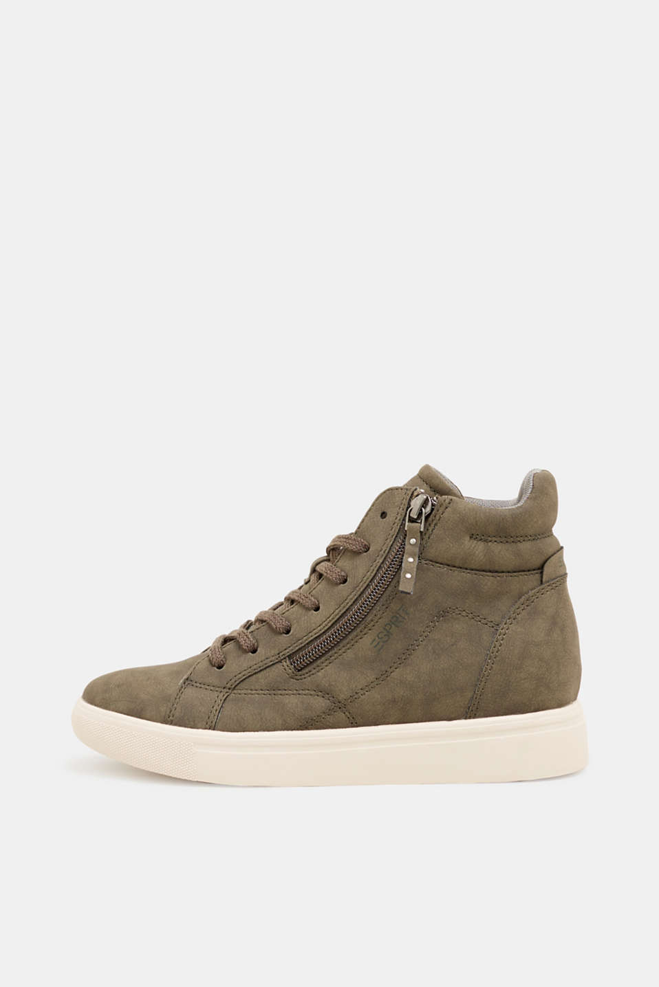 Trainers with a concealed wedge heel, KHAKI GREEN, detail image number 0