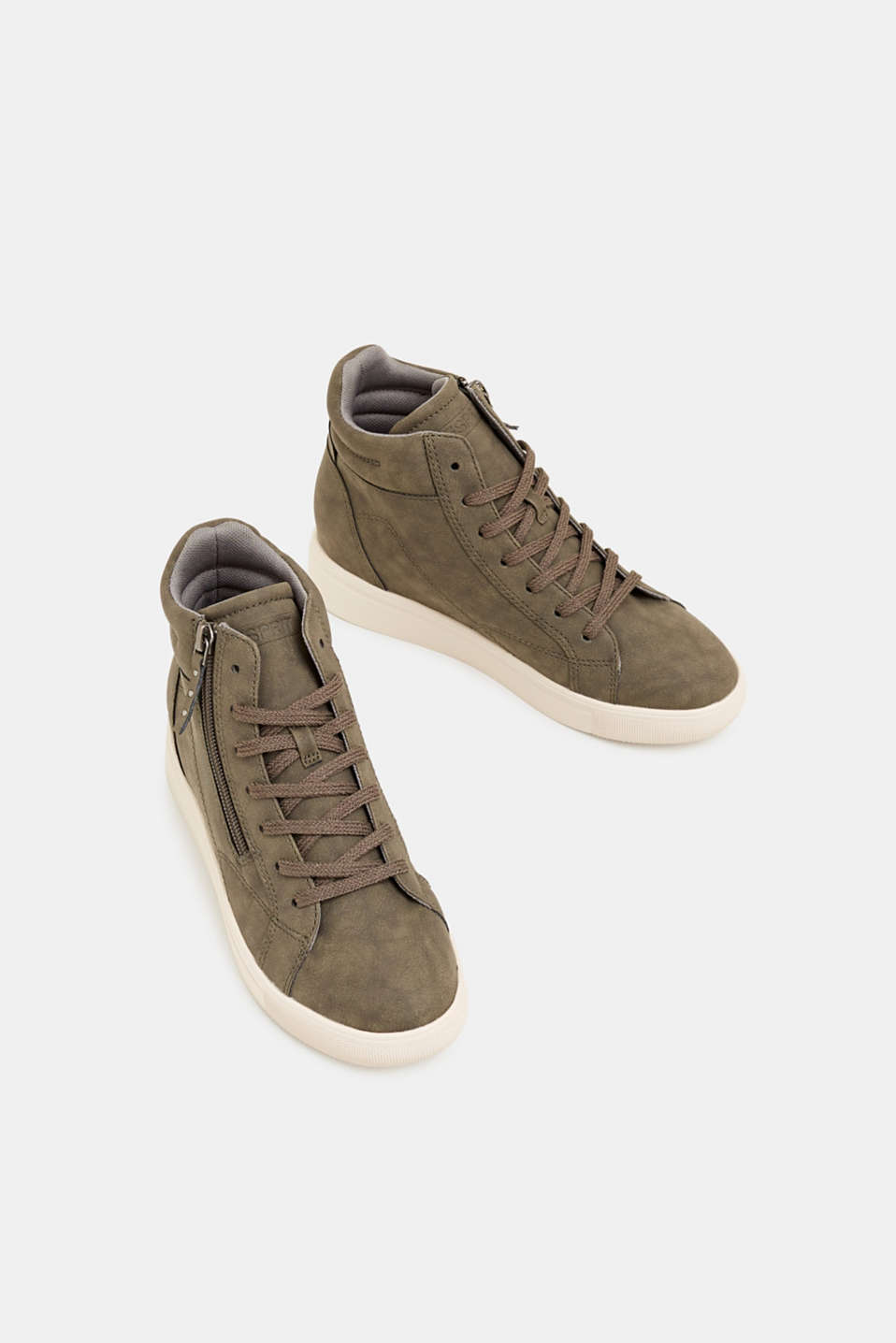 Trainers with a concealed wedge heel, KHAKI GREEN, detail image number 1