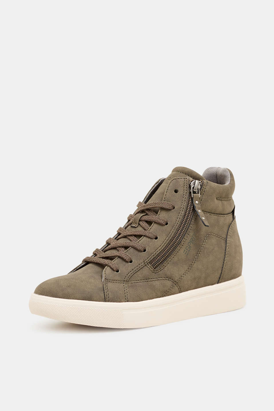 Trainers with a concealed wedge heel, KHAKI GREEN, detail image number 2