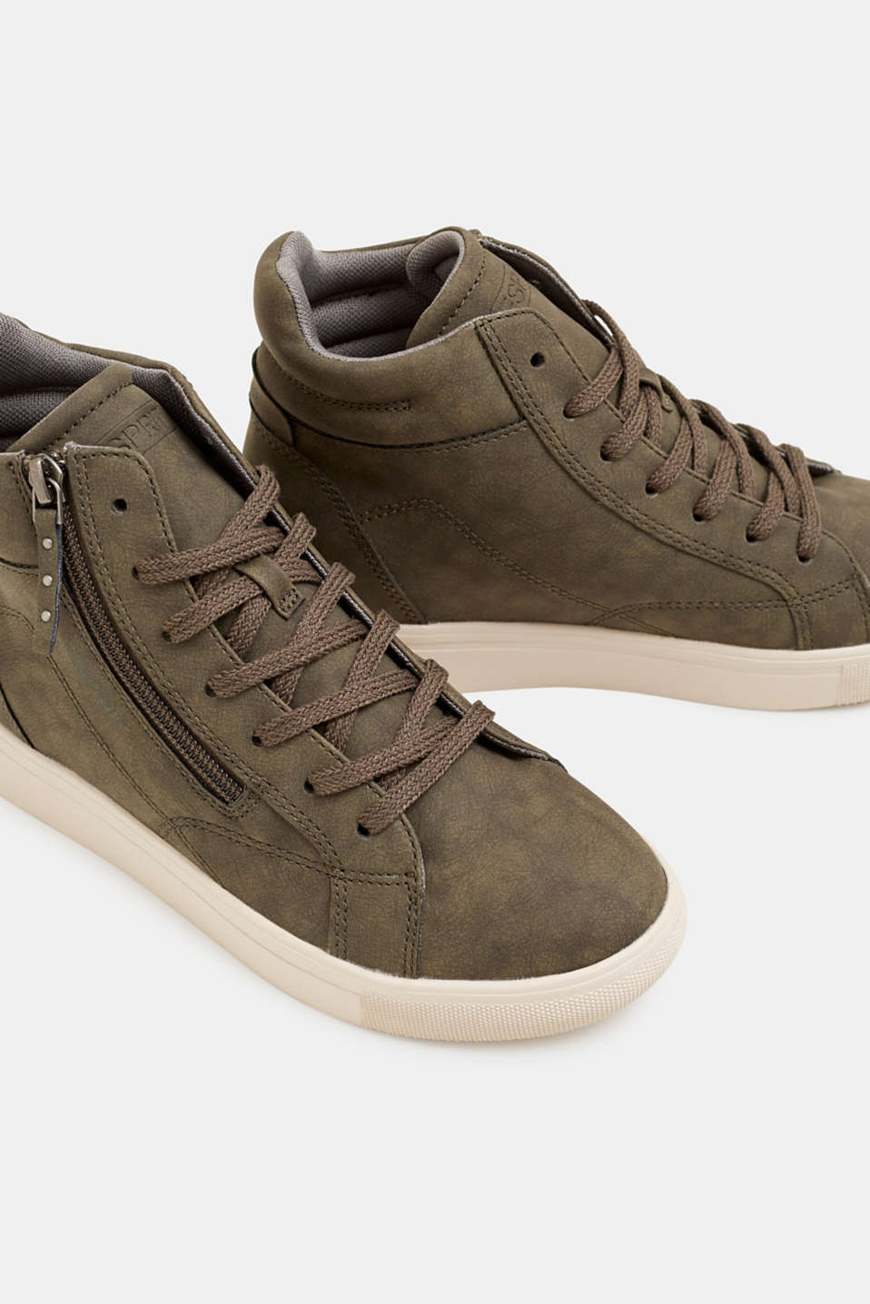 Trainers with a concealed wedge heel, KHAKI GREEN, detail image number 4